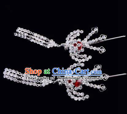 Chinese Ancient Peking Opera Hair Accessories Young Lady Headwear, Traditional Chinese Beijing Opera Head Ornaments Hua Tan Red Crystal Phoenix Hairpins