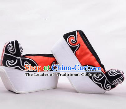 Chinese Ancient Peking Opera Young Men High Sole Shoes, Traditional China Beijing Opera Male Red Embroidered Shoes