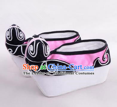 Chinese Ancient Peking Opera Young Men High Sole Shoes, Traditional China Beijing Opera Male Pink Embroidered Shoes