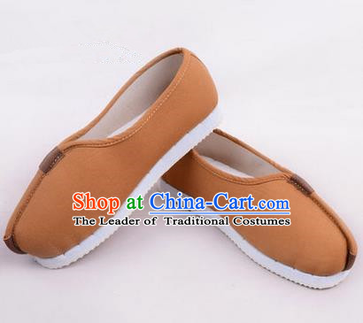 Chinese Shoes Wedding Shoes Kung Fu boots Wushu Shoes Men Shoes, Opera Shoes Hanfu Shoes Embroidered Shoes Brown Monk Shoes
