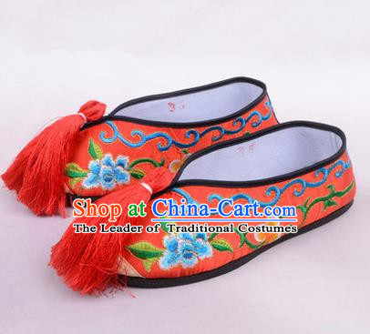 Chinese Ancient Peking Opera Young Lady Embroidered Hua Tan Shoes, Traditional China Beijing Opera Female Red Embroidered Shoes