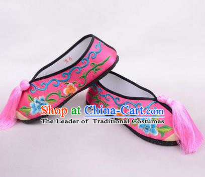 Chinese Ancient Peking Opera Young Lady Embroidered Hua Tan Shoes, Traditional China Beijing Opera Female Rosy Embroidered Shoes