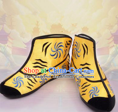 Chinese Ancient Peking Opera Monkey Boots, Traditional China Beijing Opera Handsome Monkey King Embroidered Shoes