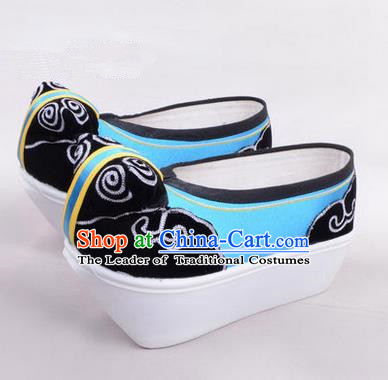 Chinese Ancient Peking Opera Scholar Young Men High Sole Shoes, Traditional China Beijing Opera Male Blue Embroidered Shoes