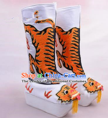 Chinese Ancient Peking Opera King Embroidered High Leg Boots, Traditional China Beijing Emperor Opera White Embroidered Steller Shoes