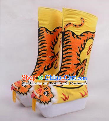 Chinese Ancient Peking Opera King Embroidered High Leg Boots, Traditional China Beijing Emperor Opera Yellow Embroidered Steller Shoes