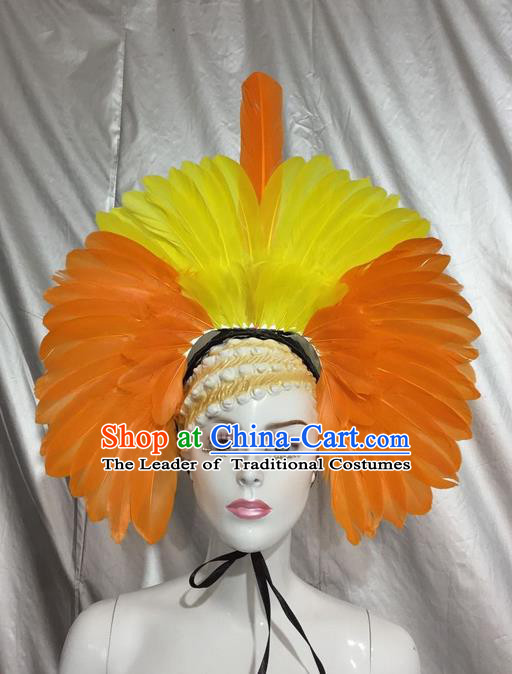 Top Grade Professional Stage Show Catwalks Brazil Feather Headpiece Hat, Brazilian Rio Carnival Samba Opening Dance Yellow Feather Headwear for Women
