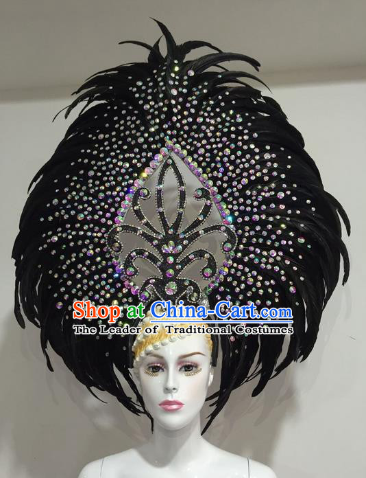 Top Grade Professional Stage Show Halloween Crystal Feather Headpiece Delux Hat, Brazilian Rio Carnival Samba Opening Dance Black Feather Headwear for Women