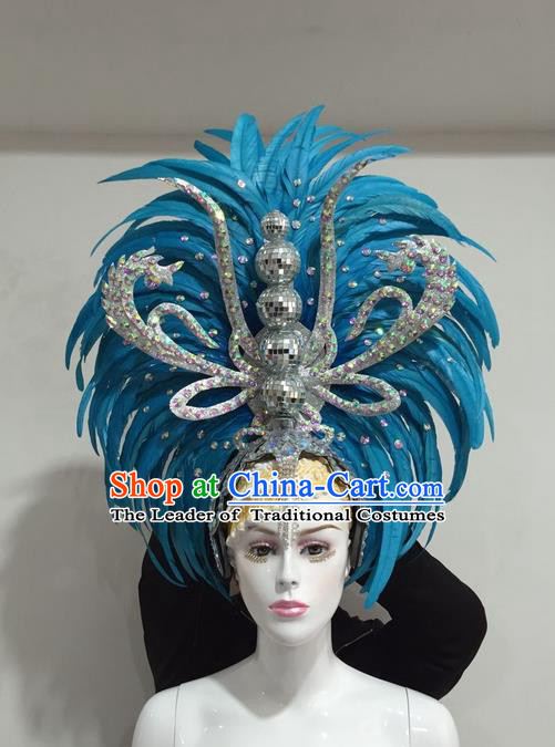 Top Grade Professional Stage Show Halloween Crystal Feather Headpiece Delux Hat, Brazilian Rio Carnival Samba Opening Dance Blue Feather Headwear for Women