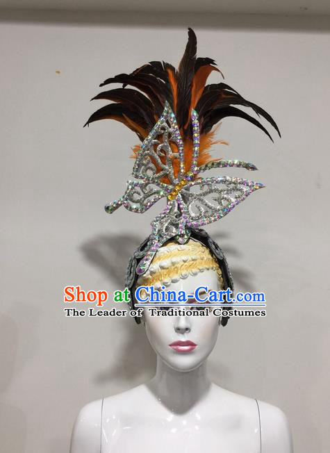 Top Grade Professional Stage Show Halloween Feather Headpiece White Exaggerate Hat, Brazilian Rio Carnival Samba Opening Dance Hair Accessories Headwear for Women