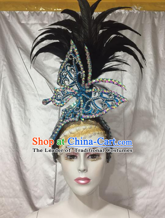 Top Grade Professional Stage Show Halloween Feather Headpiece Blue Exaggerate Hat, Brazilian Rio Carnival Samba Opening Dance Hair Accessories Headwear for Women
