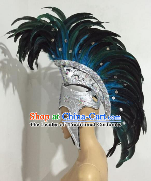Top Grade Professional Stage Show Halloween Blue Feather Headpiece Exaggerate Hat, Brazilian Rio Carnival Samba Opening Dance Hair Accessories Headwear Warrior Helmet