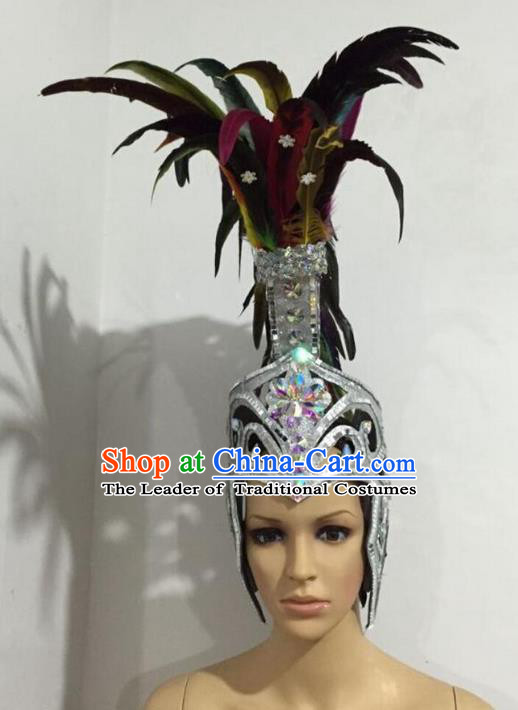 Top Grade Professional Stage Show Halloween Colorful Feather Headpiece Exaggerate Hat, Brazilian Rio Carnival Samba Opening Dance Hair Accessories Headwear Warrior Helmet