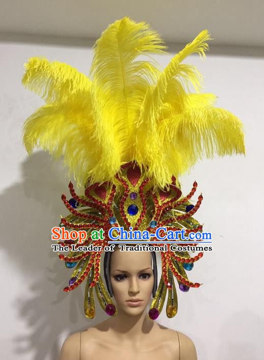 Top Grade Professional Stage Show Halloween Yellow Feather Headpiece Exaggerate Hat, Brazilian Rio Carnival Samba Opening Dance Hair Accessories Cleopatra Headwear for Women