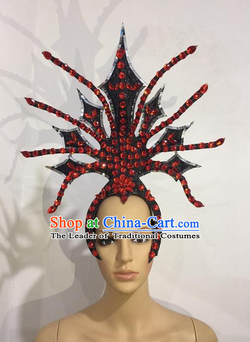 Top Grade Professional Stage Show Halloween Red Crystal Headpiece Exaggerate Hat, Brazilian Rio Carnival Samba Opening Dance Hair Accessories Cleopatra Headwear for Women