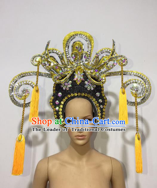 Top Grade Professional Stage Show Halloween Queen Headpiece Exaggerate Golden Hat, Brazilian Rio Carnival Samba Opening Dance Imperial Empress Hair Accessories Headwear for Women