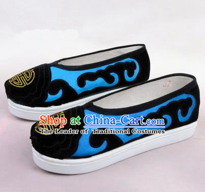 Chinese Ancient Peking Opera Huangmei Opera Old Men Shoes, Traditional China Beijing Opera Male Blue Embroidered Shoes