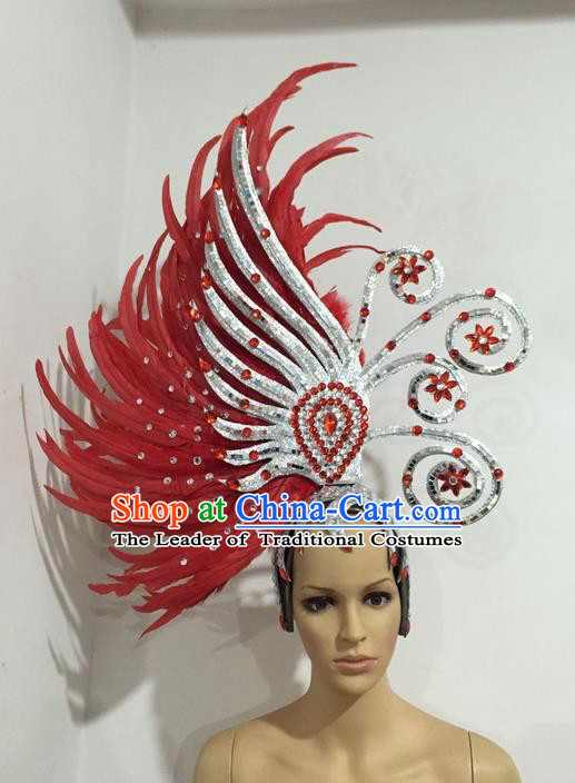 Top Grade Professional Stage Show Halloween Giant Headpiece Red Feather Big Hair Accessories Decorations, Brazilian Rio Carnival Samba Opening Dance Hat Headwear for Women