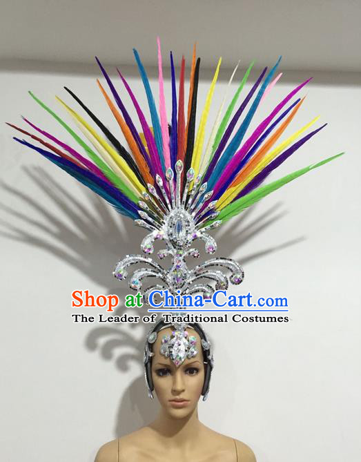 Top Grade Professional Stage Show Halloween Giant Headpiece Colorful Feather Big Hair Accessories Decorations, Brazilian Rio Carnival Samba Opening Dance Hat Headwear for Women