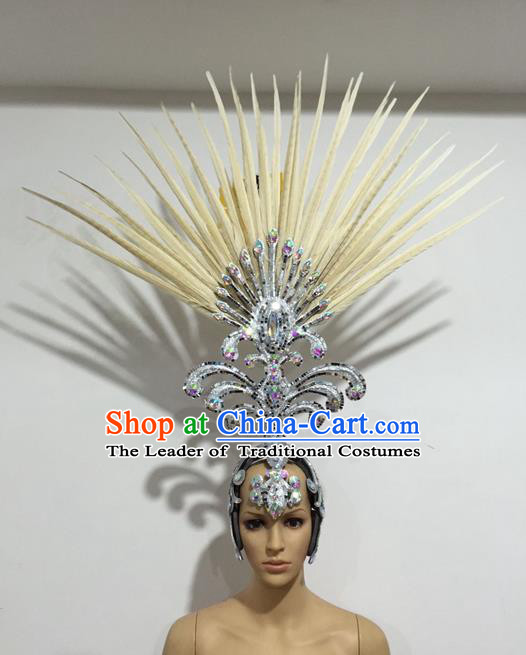 Top Grade Professional Stage Show Giant Headpiece Beige Feather Big Hair Accessories Decorations, Brazilian Rio Carnival Samba Opening Dance Hat Headwear for Women