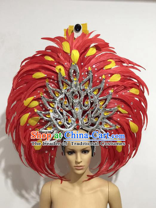 Top Grade Professional Stage Show Giant Headpiece Red Feather Big Hair Accessories Decorations, Brazilian Rio Carnival Samba Opening Dance Hat Headwear for Women