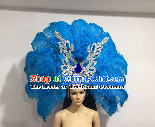 Top Grade Professional Stage Show Giant Headpiece Blue Feather Big Hair Accessories Butterfly Decorations, Brazilian Rio Carnival Samba Opening Dance Hat Headwear for Women