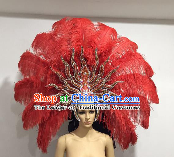 Top Grade Professional Stage Show Giant Headpiece Red Ostrich Feather Big Hair Accessories Decorations, Brazilian Rio Carnival Samba Opening Dance Hat Headwear for Women