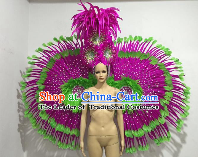 Top Grade Professional Stage Show Giant Headpiece and Wings Decorations, Brazilian Rio Carnival Samba Opening Dance Hat Headwear Clothing for Women