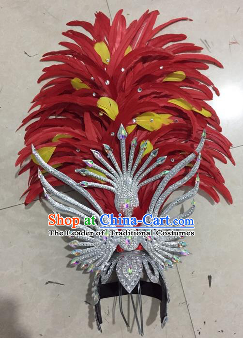 Top Grade Professional Stage Show Halloween Headpiece Red Feather Hat, Brazilian Rio Carnival Samba Opening Dance Imperial Empress Hair Accessories Headwear for Women