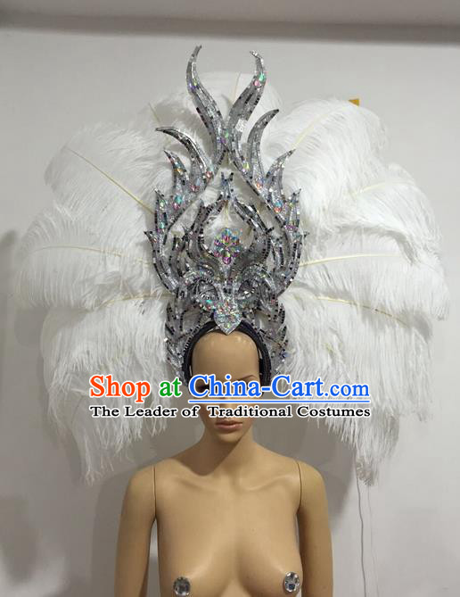 Top Grade Professional Stage Show Giant Headpiece White Feather Big Hair Accessories Decorations, Brazilian Rio Carnival Samba Opening Dance Headwear for Women