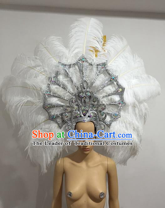 Top Grade Professional Stage Show Giant Headpiece White Feather Big Hair Accessories Crystal Decorations, Brazilian Rio Carnival Samba Opening Dance Headwear for Women