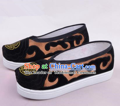 Chinese Ancient Peking Opera Huangmei Opera Old Men Shoes, Traditional China Beijing Opera Male Bronze Embroidered Shoes