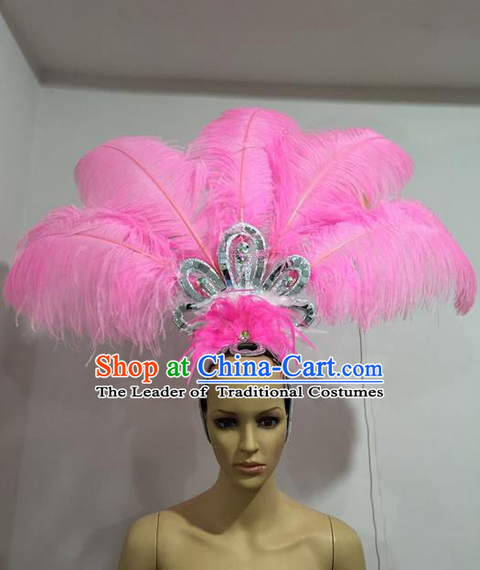 Top Grade Professional Stage Show Giant Headpiece Pink Feather Hair Accessories Decorations, Brazilian Rio Carnival Samba Opening Dance Headwear for Women