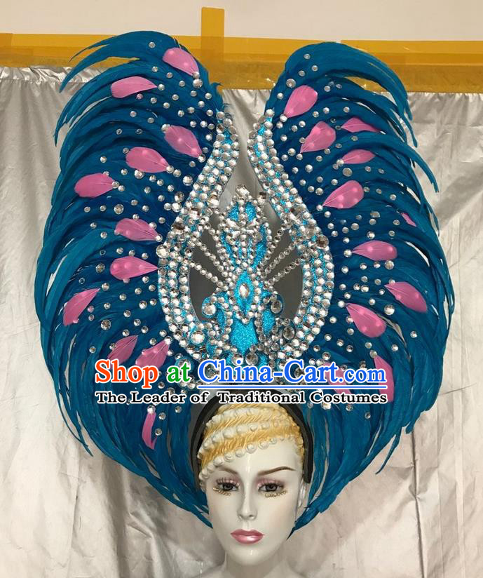 Top Grade Professional Stage Show Giant Headpiece Blue Feather Hair Accessories Crystal Decorations, Brazilian Rio Carnival Samba Opening Dance Headwear for Women