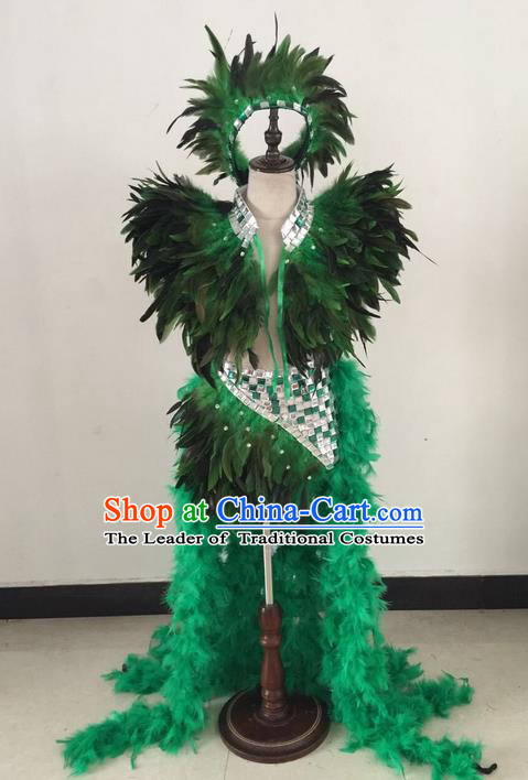 Top Grade Professional Performance Catwalks Swimsuit Costume, Traditional Brazilian Rio Carnival Samba Suits Modern Fancywork Green Feather Clothing for Kids