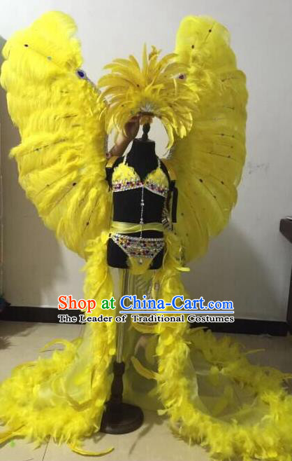 Top Grade Professional Performance Catwalks Swimsuit Costume with Wings, Traditional Brazilian Rio Carnival Samba Modern Fancywork Yellow Feather Clothing for Kids