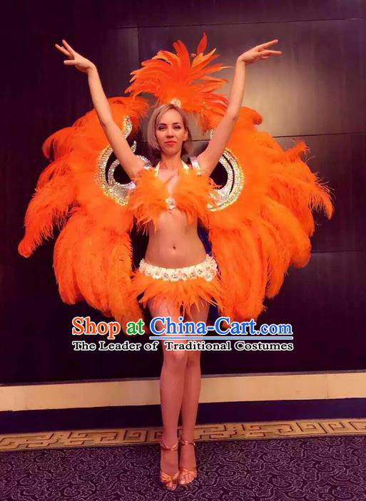 Top Grade Professional Performance Catwalks Bikini Swimsuit with Wings, Traditional Brazilian Rio Carnival Samba Modern Fancywork Orange Feather Clothing for Women