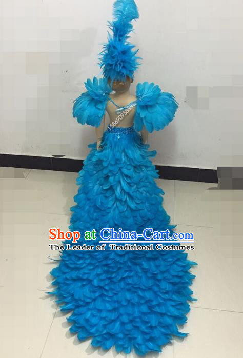 Top Grade Professional Performance Catwalks Feather Skirt, Traditional Brazilian Rio Carnival Samba Modern Fancywork Light Blue Feather Clothing for Kids
