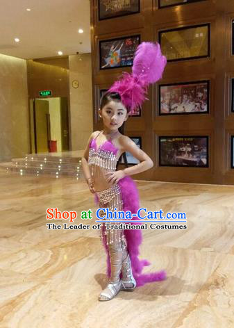 Top Grade Professional Performance Catwalks Bikini Costume, Traditional Brazilian Rio Carnival Samba Modern Fancywork Pink Feather Swimsuits Clothing for Kids