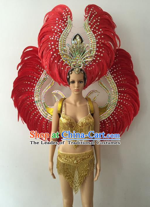 Top Grade Professional Performance Catwalks Bikini Costume with Wings, Traditional Brazilian Rio Carnival Samba Modern Fancywork Red Feather Swimsuits Clothing for Women