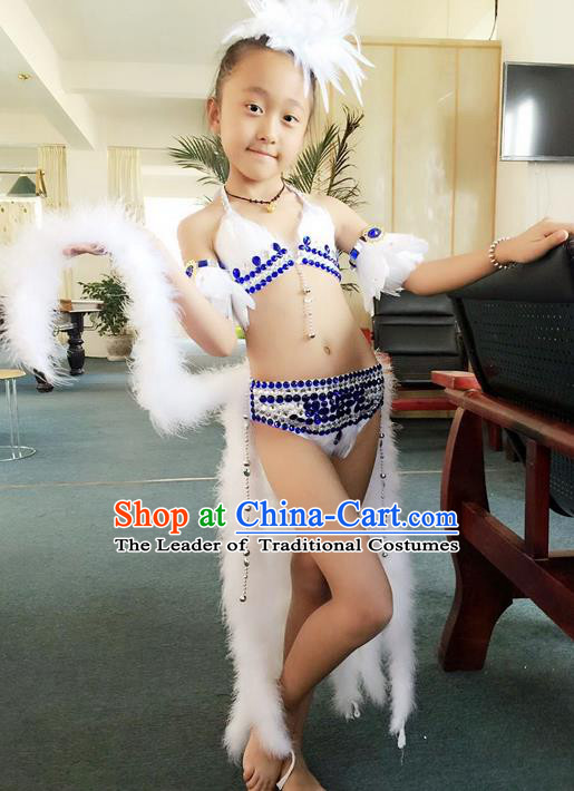 Top Grade Professional Performance Catwalks Bikini Costume, Traditional Brazilian Rio Carnival Samba Modern Fancywork Feather Swimsuits Clothing for Kids