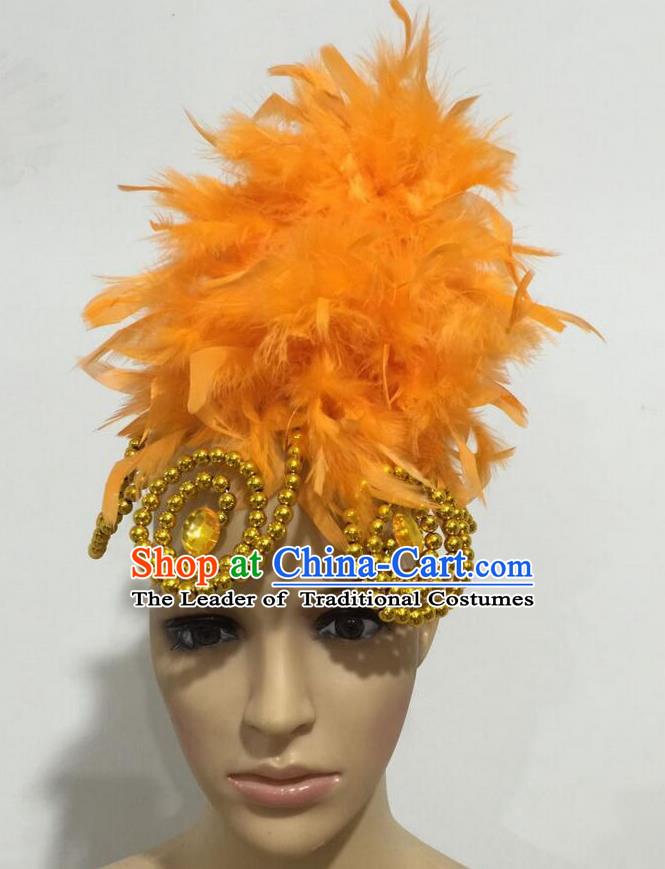 Top Grade Professional Stage Show Giant Headpiece Parade Hair Accessories, Brazilian Rio Carnival Samba Opening Dance Imperial Empress Orange Feather Headwear for Women