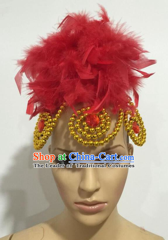 Top Grade Professional Stage Show Giant Headpiece Parade Hair Accessories, Brazilian Rio Carnival Samba Opening Dance Imperial Empress Red Feather Headwear for Women