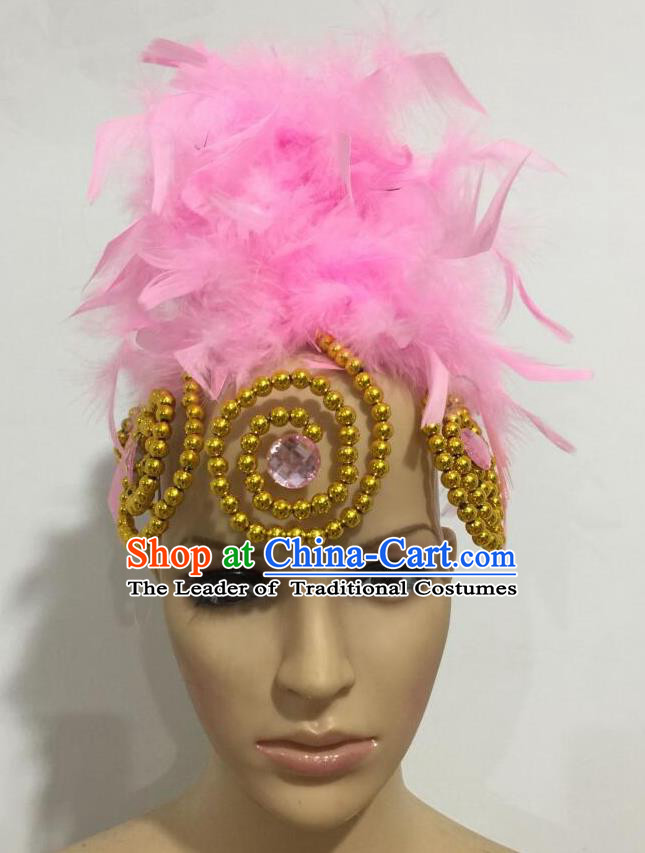 Top Grade Professional Stage Show Giant Headpiece Parade Hair Accessories, Brazilian Rio Carnival Samba Opening Dance Imperial Empress Pink Feather Headwear for Women