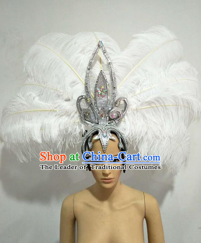 Top Grade Professional Stage Show Giant Headpiece Parade Big Hair Accessories Decorations, Brazilian Rio Carnival Samba Opening Dance White Feather Headdresses for Women