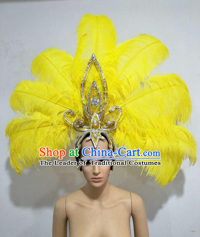 Top Grade Professional Stage Show Giant Headpiece Parade Big Hair Accessories Decorations, Brazilian Rio Carnival Samba Opening Dance Yellow Feather Headdresses for Women