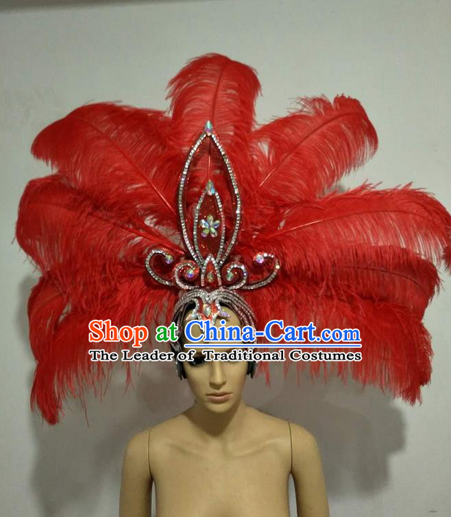 Top Grade Professional Stage Show Giant Headpiece Parade Big Hair Accessories Decorations, Brazilian Rio Carnival Samba Opening Dance Red Feather Headdress for Women