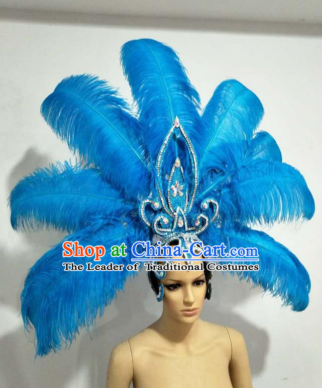 Top Grade Professional Stage Show Giant Headpiece Parade Big Hair Accessories Decorations, Brazilian Rio Carnival Samba Opening Dance Blue Feather Headdresses for Women