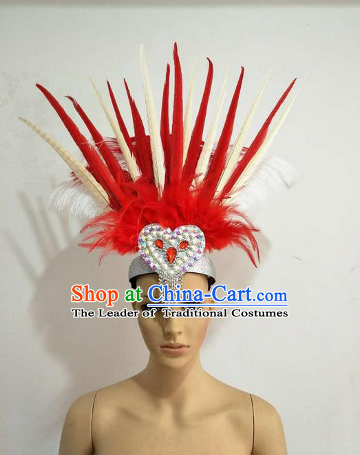 Top Grade Professional Stage Show Giant Headpiece Parade Hair Accessories Decorations, Brazilian Rio Carnival Samba Opening Dance Red and White Feather Hats for Women