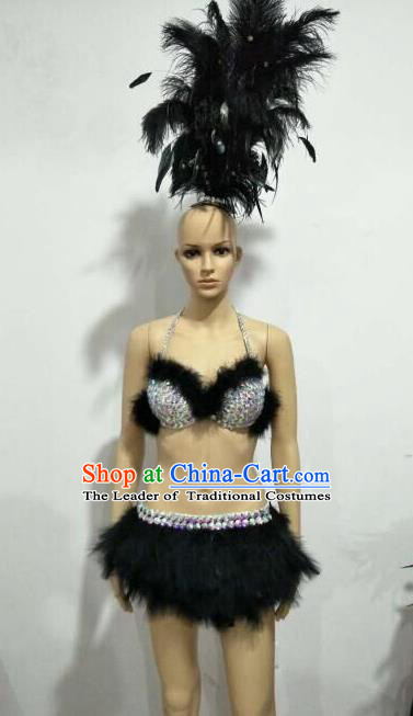 Top Grade Professional Performance Catwalks Swimsuit Costume and Headpiece, Traditional Brazilian Rio Carnival Samba Suits Modern Fancywork Black Feather Bikini for Women